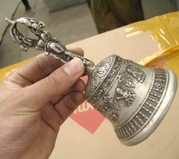 0116P [old craft ] Fast shipping Buddhism method machinet bell silver statue (A0314)