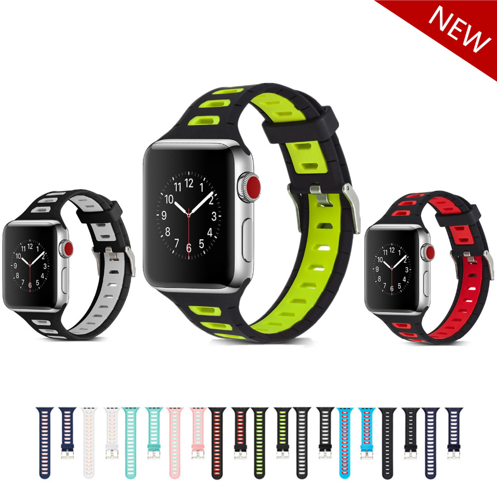 Sport strap for apple watch band 42mm 38mm bracelet wrist belt silicone watchband for iwatch 3/2/1 band watch accessories sport silicone strap case for apple watch band 42mm 38mm bracelet nike watchband protective case for iwatch 3 2 1 wrist belt