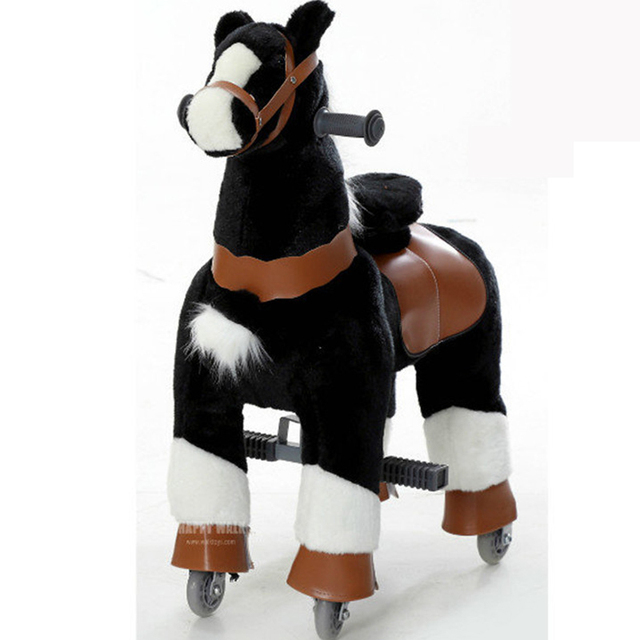 Plush M Size Black Ride on Horse Toy for Kids Mechanical Animal Ride Cavalos Brinquedos Horse Walking Scooter Childhood Toy