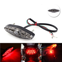 Universal Motorcycle Led Running Rear Brake Stop Tail Light License Plate Lamp DC 12V