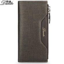 Mode-business dante geldbörsen echte kuh-leder herren brieftasche kartenhalter luxus marke golden schwarz mann lange reißverschluss handtasche