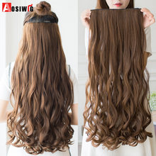 cfab29aaf AOSIWIG 5 clips on Curly Thick Hairpiece clip in Hair Extensions Heat  Resistant Fiber Synthetic Hair Party Cosplay For Women