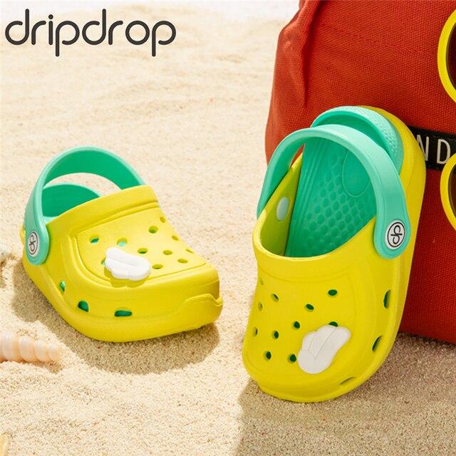 DRIPDROP ילדה ילד נעלי בית חוף סנדלי קיץ כפכפי גן ילדים כפכפים ידידותית לסביבה נעליים עם כנפיים