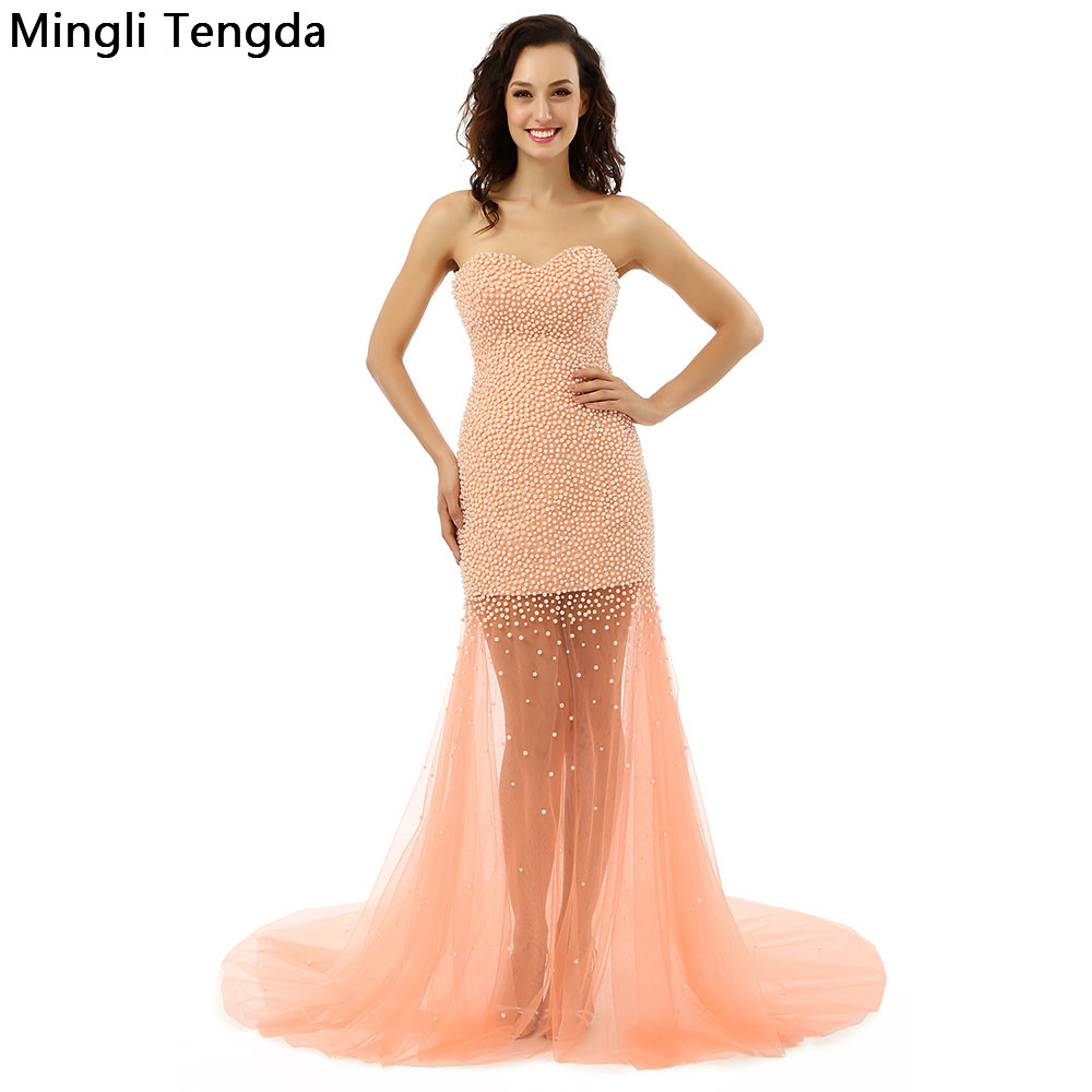 2017 New Pink Pearl Long   Prom     Dresses   Strainght Illusion   Prom     Dress   Chapel Train Abendkleider Robe De Soiree 2017 Mingli Tengda