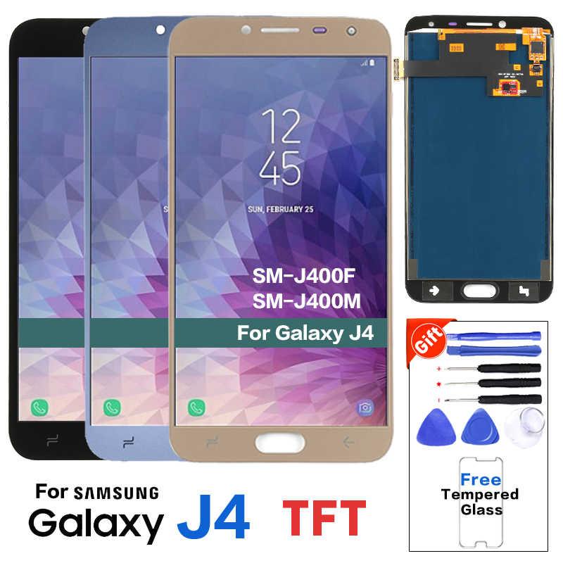 لسامسونج غالاكسي J4 2018 J400 SM-J400F J400H J400G/DS شاشة الكريستال السائل مجموعة المحولات الرقمية لشاشة تعمل بلمس مع ضبط السطوع
