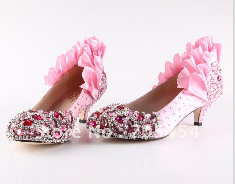 Pink Wedding Shoes Low Heel: BS347 Free Shipping Custom Make 5cm Low Heel Pink Crystals