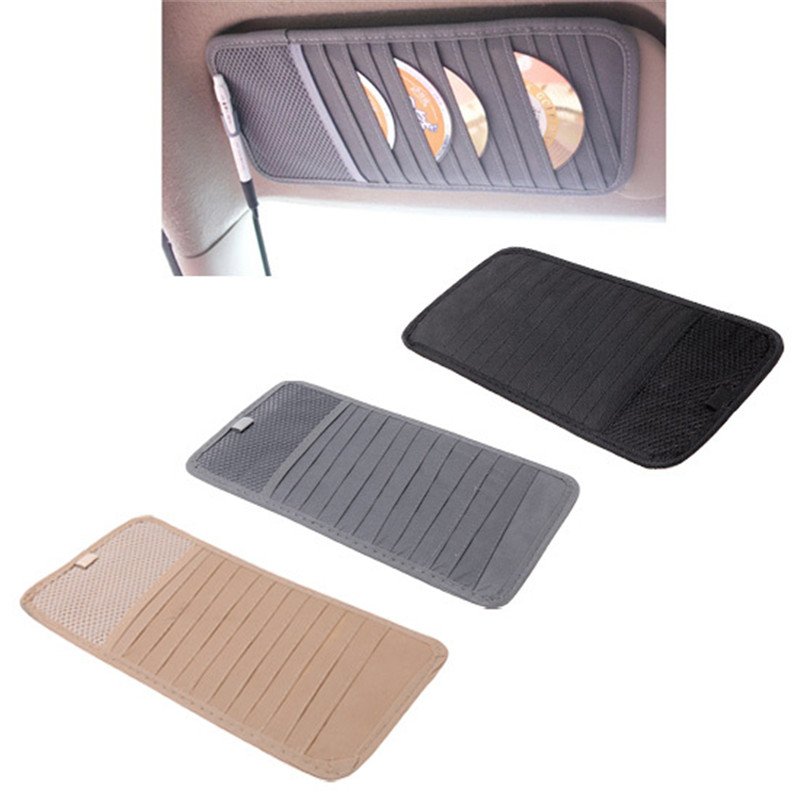 Car 12pcs Disks CD Holder Auto Visor DVD Disk Card Case Clipper Bag Car Styling Interior Organizer Cover Stowing Tidying