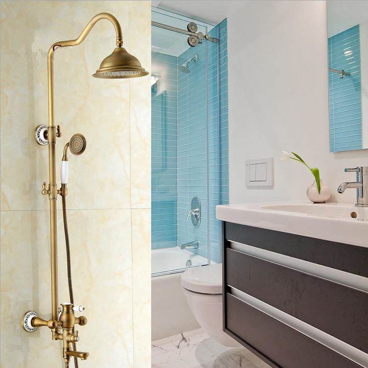 Shower Faucets Antique Waterfall Tub Mixer Faucet Wall Mounted ...