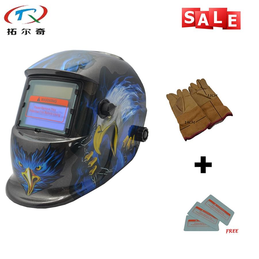 Free 3pcs PP LensAnd Gloves Eagle Electric Solar Welder Mask Mig Tig Automatic Welding Helmet TRQ HD80 2200de yellow gloves Welding Helmets Tools - title=