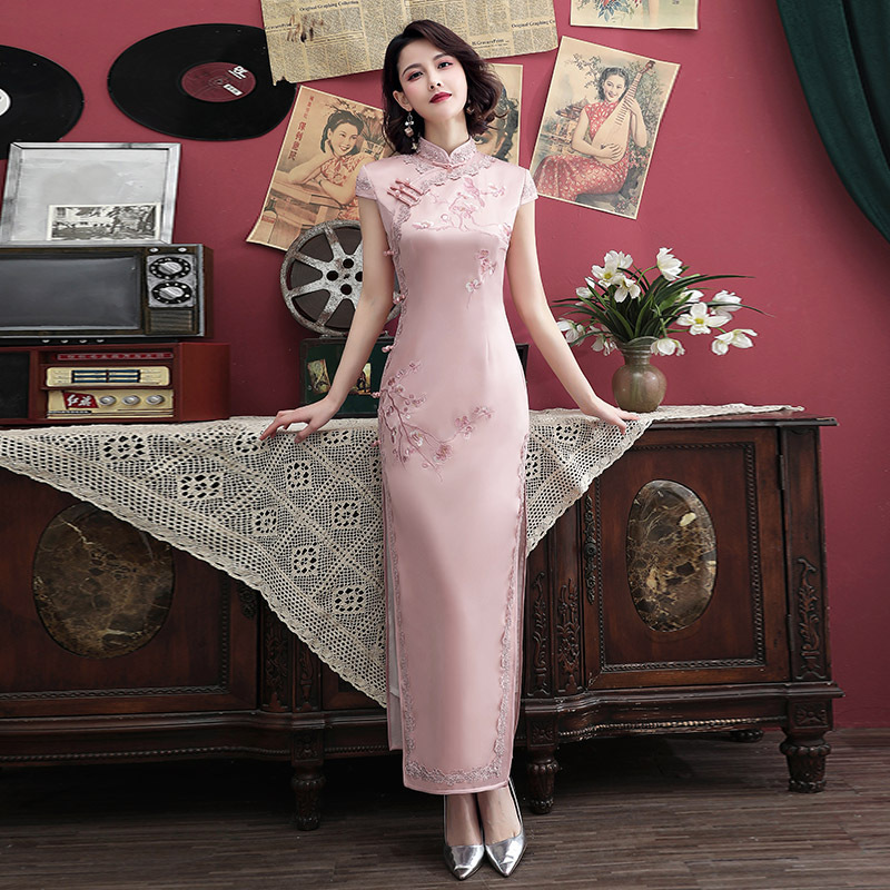 Sheng Coco 4XL Plus Size Qipao Long Lace Cheongsam Silk Satin Qi Pao Bride Cheongsam Oriental Style Pink Evening  Dress Vestido