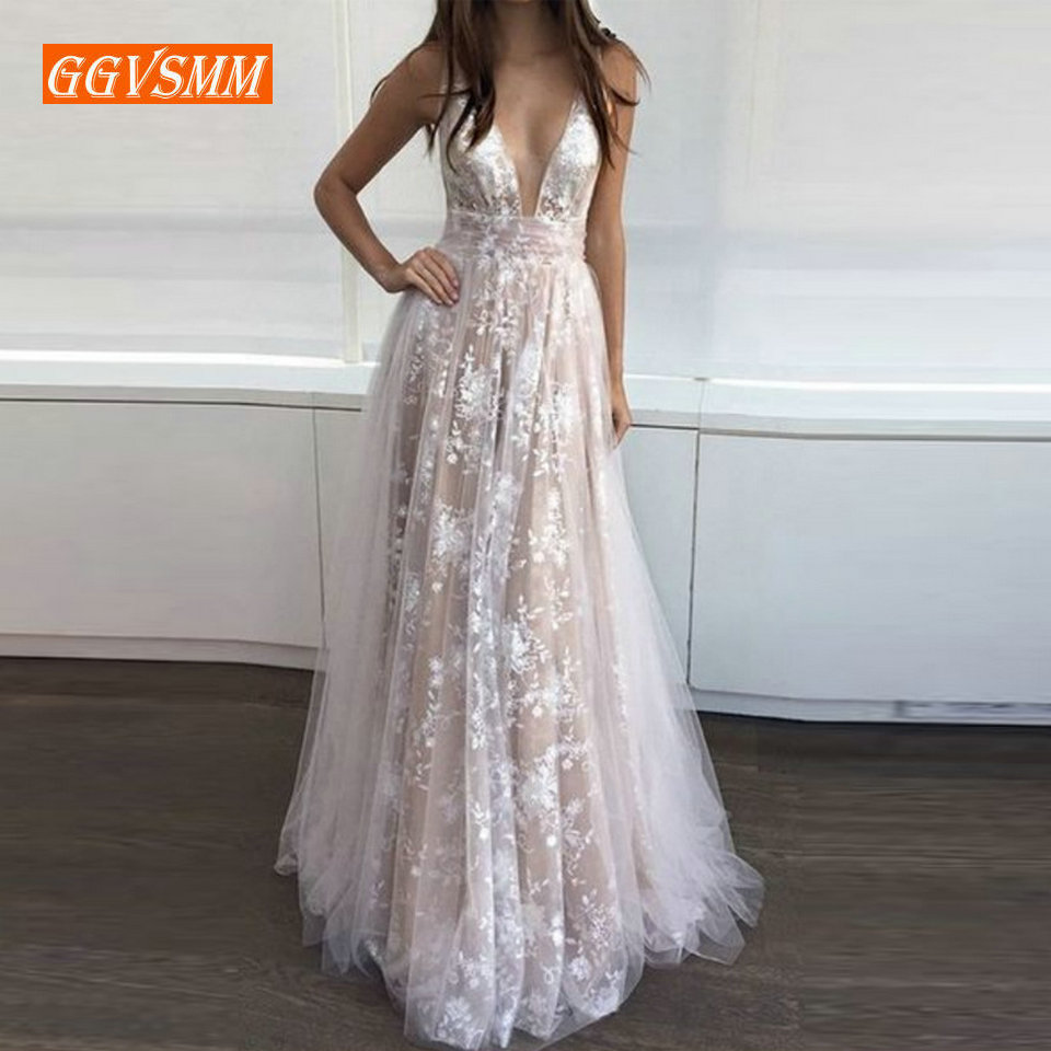 Sexy Ivory Bohemian   Evening     Dresses   2018   Evening   Gowns Women Party V-neck Tulle Embroidery Lace Backless Beach BOHO Formal   Dress