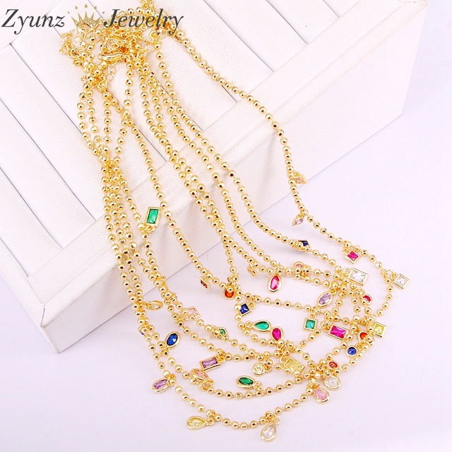 5PCS, New Sparking Micro Pave Tear Drop Chocker Cz Dots Colours Charms Chain thin cz Stone Pendant Necklace Women Jewelry
