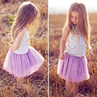 2PCS Gray Vest Purple Dresses Clothes Set Children Princess Tutu Dresses Baby Girl First Birthday Outfit Party Fluffy Dress