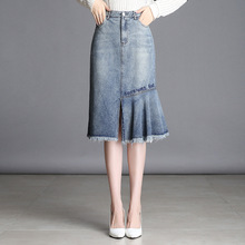 Vintage Women Washed Ripped Irregular Midi Denim Skirt High Waist Plus Size Letter Embroidery Trumpet Casual  with Pockets