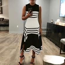 Summer Dresses 2019 Casual Loose Color Block Striped Sleeveless Asymmetrical O-Neck Dress Fashion Women Dress Vestidos casual striped color block dress