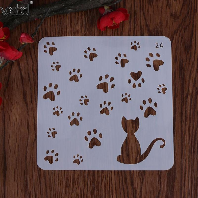 HOT Cat W/ Footprint Template Layering Stencils For Wall Scrapbooking/photo Album Embossing DIY Paper Cards Crafts Decorative