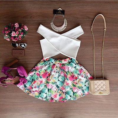 2pcs Set Sexy Women Summer Floral Sleeveless Casual Evening White V Neck Top Short Shirt & Flower Colorful Mini Skirt Wholesale