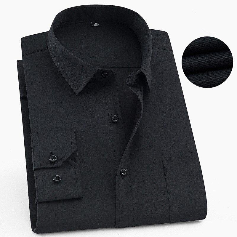 Grande taille 6XL 5XL 4XL 3XL mode hommes chemises à manches longues bouton Up noir mâle robe chemise couleur Pure formelle tenue de bureau Blouse
