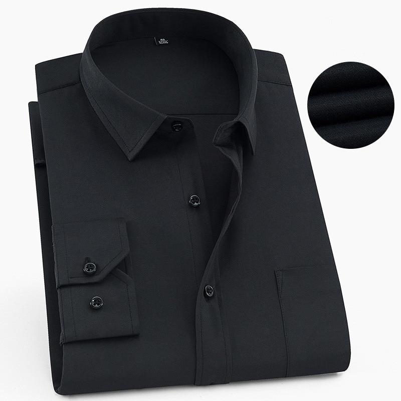 Plus Size 6XL 5XL 4XL 3XL Fashion Mens Shirts Long Sleeve Button Up Black Male Dress Shirt Pure Color Formal Office Wear Blouse