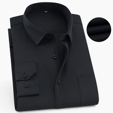 Plus Size 6XL 5XL 4XL 3XL Fashion Mens Shirts Long Sleeve Button Up Black Male Dress Shirt Pure Color Formal Office Wear Blouse plus lace insert button up blouse