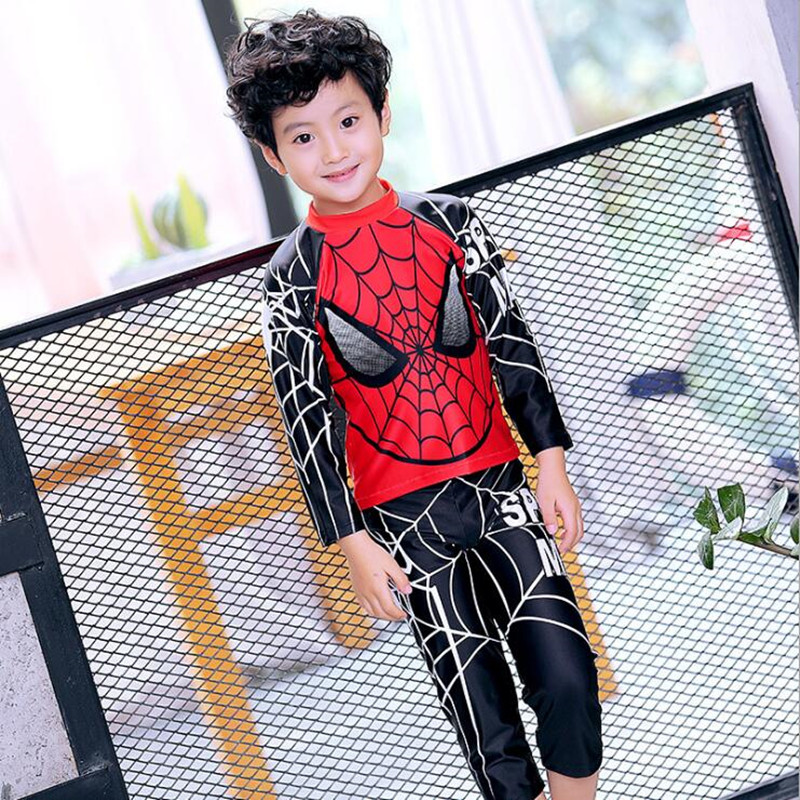 2017 New Boys Swimwear Two Pieces Long Sleeve Spider Man Pattern Kids Children Swimsuit Clothing+Pants Bathing Suit Beach Wear spider man style surfing clothes for 3 10y little boys kids one piece beachwear swimwear high quality children clothing