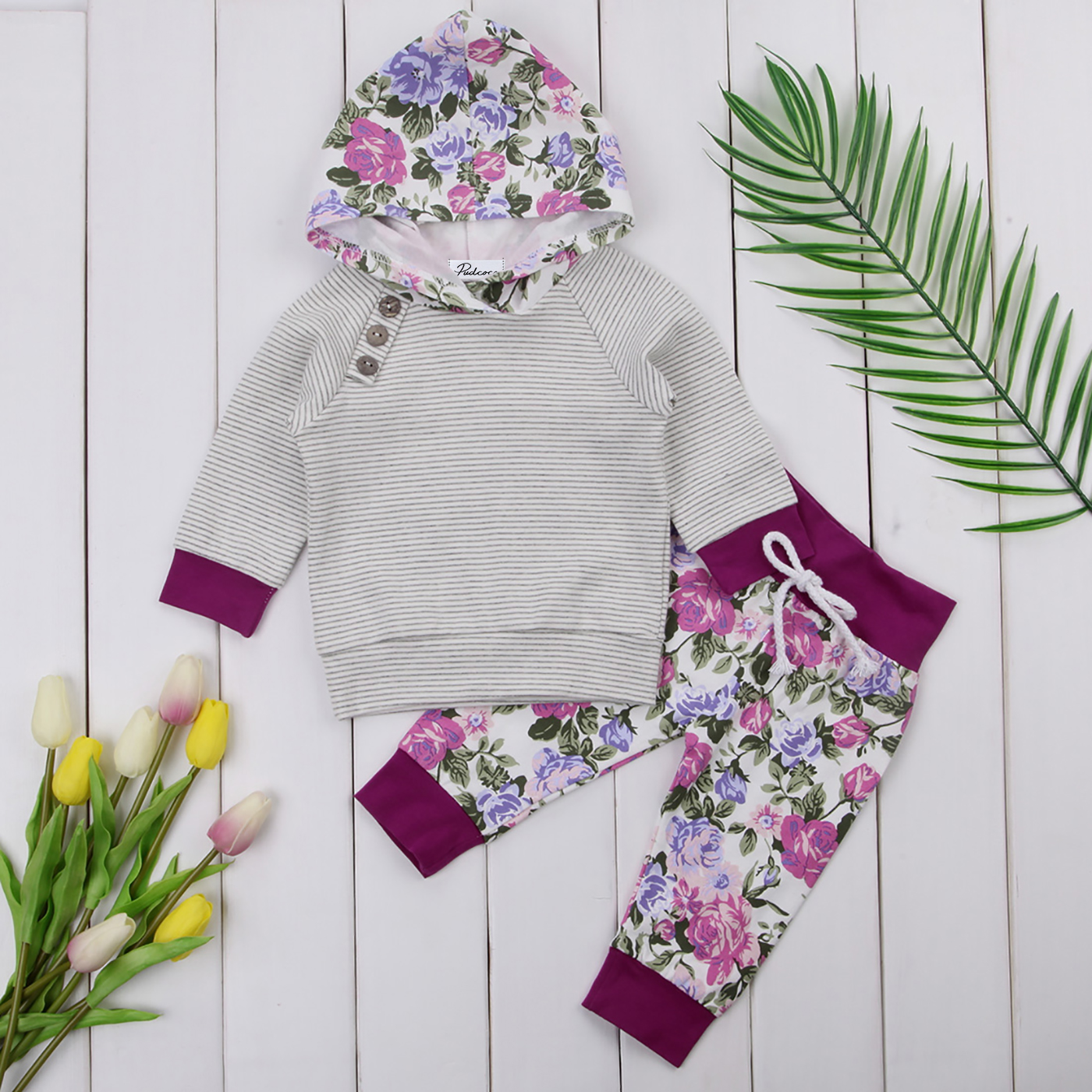 Winter Autumn Toddler Newborn Baby Girl Striped Long Sleeve T-shirt Top Hoodie Print Pants 2pcs Outfits Set