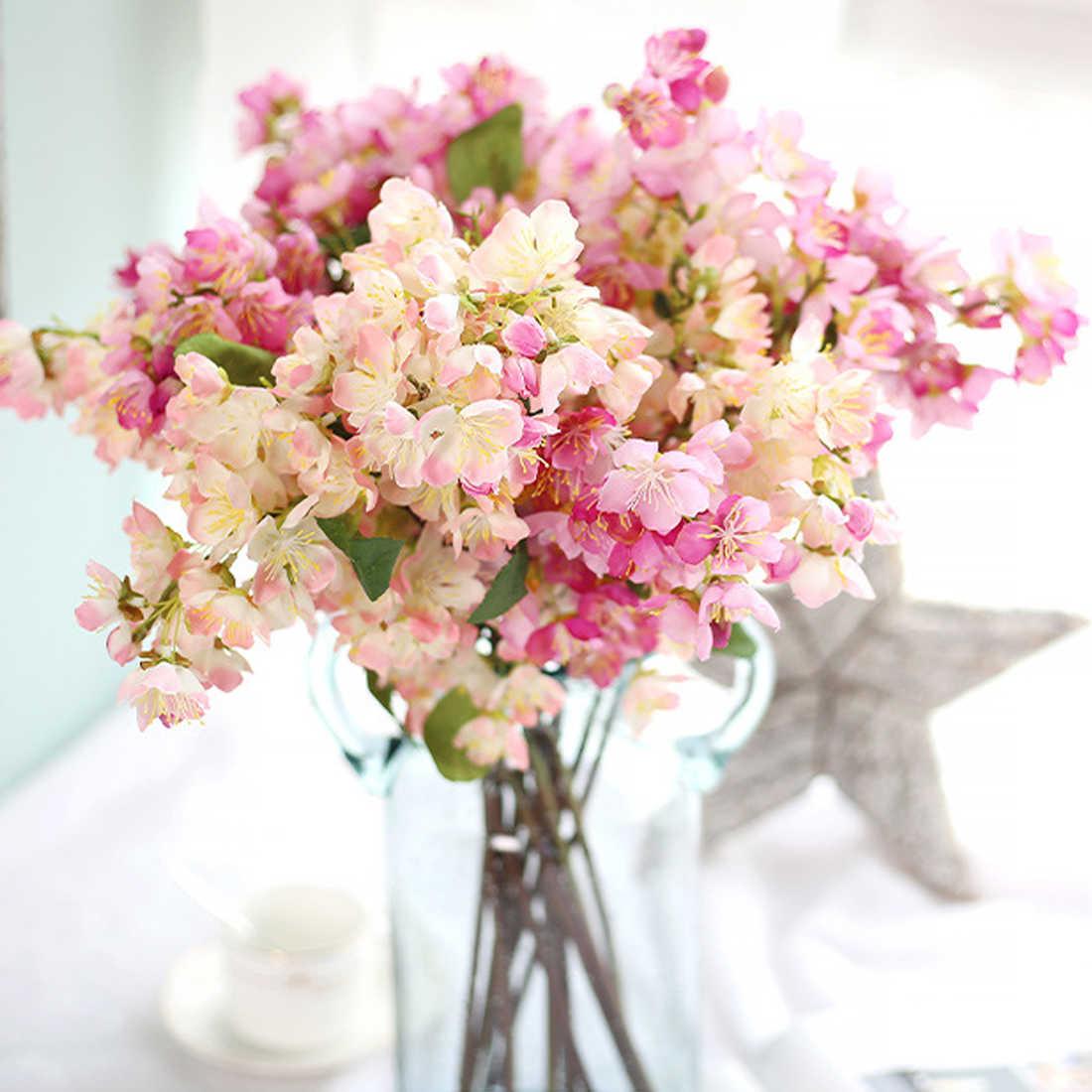 1 Bouquet Sakura Jepang Bunga Buatan Cherry Blossom Bouquet Palsu Bunga Rumah Pernikahan Pesta Dekorasi Persediaan