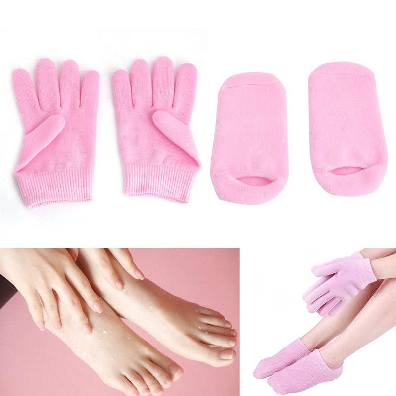 OOTDTY 1 Pair Super Soft Feet Socks Gel/Gloves Silicone Gel Booties SPA Moisturizing Insoles New Super Soft
