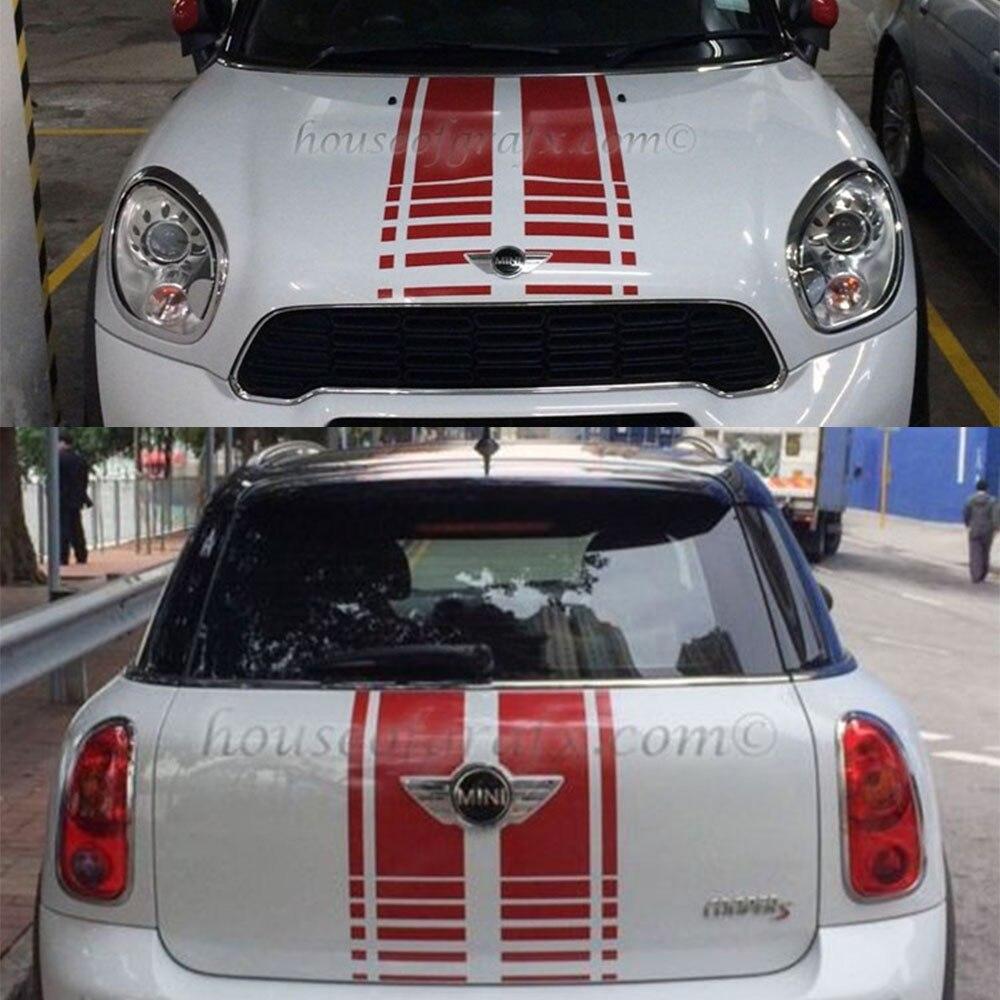 Black /Red Bonnet Stripe Hood Trunk Rear Side Skirt Racing Stripes Decal Stickers For Mini Countryman R60 Cooper S 2013-16 rays volk racing te37 r 16 4100