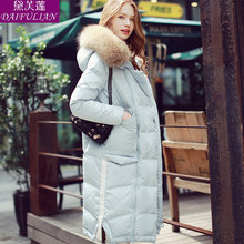2015 new Hot winter Thicken Warm Woman Down jacket Coat Parkas Outerwear Hooded Raccoon Fur collar Luxury long plus size Loose