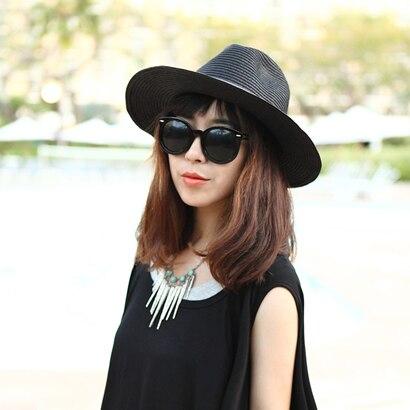 2015 New Women Summer Black Fashion Panama Hat Women s Summer Foldable  Straw Hats for Women Beach Headwear Chapeu Feminino-in Sun Hats from  Apparel ... c5c5a6b426d