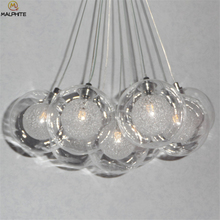 Nordic Glass Ball Pendant Light Living Room Restaurant Lamp Kitchen Fixtures Transparent Crystal Scrub Bubble Luminaire