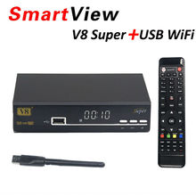 Original V8 Super DVB-S2 Satellite Receiver upgrade A5S Support PowerVu Biss Key Cccamd Newcamd Youtube Youporn+USB WIFI