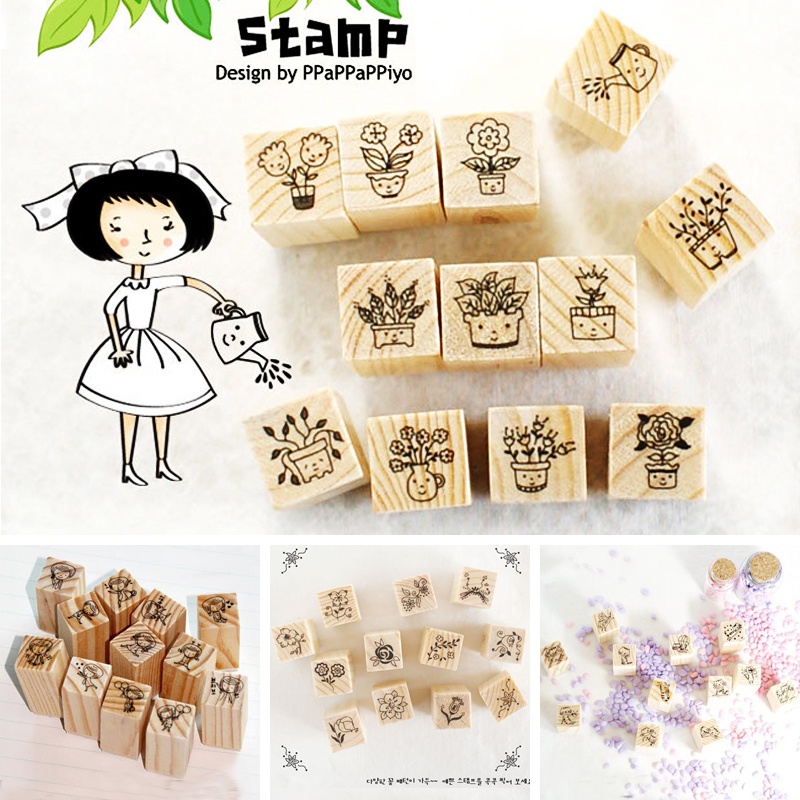 12 pcs/set DIY Cute Sweet Flower Wooden Stamps for Decor Diary Scrapbooking Korean Stationery School Supplies Free shipping eyelash phrase unicorn transparent clear stamps for diy scrapbooking card making kids christmas fun decoration supplies