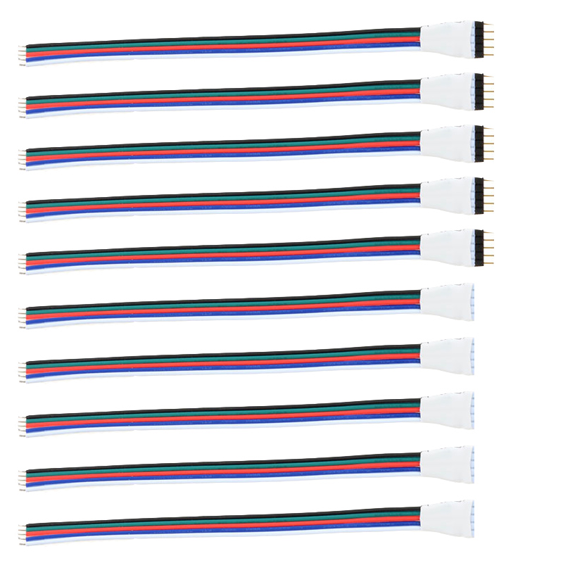 5 Pairs 10 pcs 4 pin RGB Connector 5Pin RGBW Connector Male Female LED Strip Connector 4pin 5pin Welding Cable For 5050 3528 RGB image