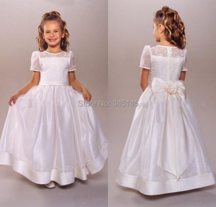 First Communion   Dress   Jewel T-Shirt Short Sleeve Bow Lace Embroidery   Girls     Flower     Girl     Dress   2017 For Wedding
