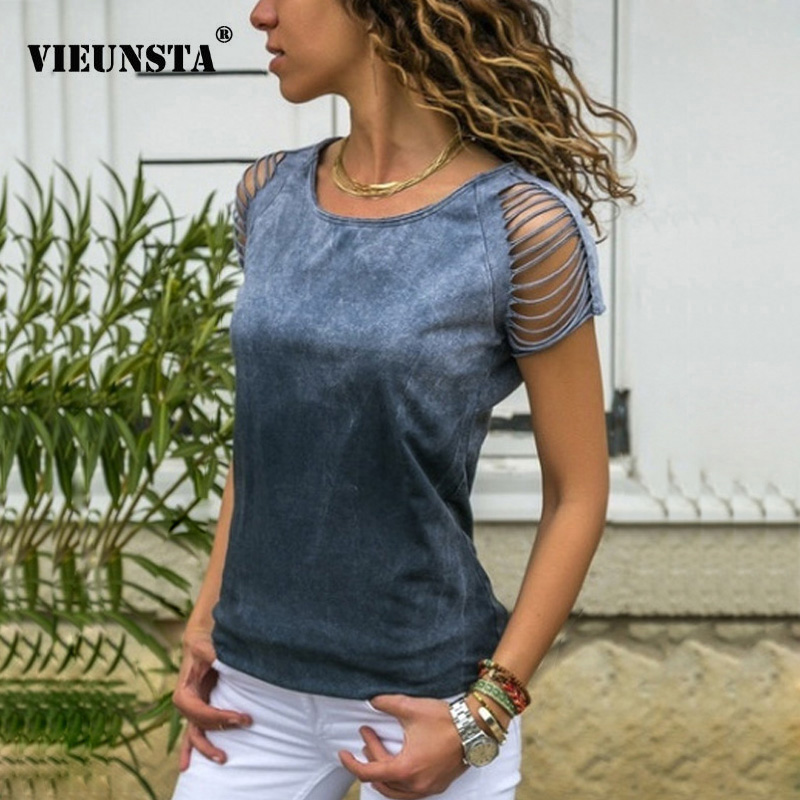 VIEUNSTA Sexy Hollow Out Short Sleeve Beach   Blouses   Women 2019 Casual O Neck Slim Fit Bodycon   Shirt   Solid Summer Tops Blusa 5XL