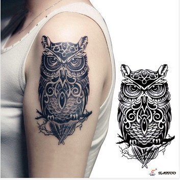 Temporary tattoos large black owl arm fake transfer tattoo stickers hot sexy men women spray waterproof designs 1