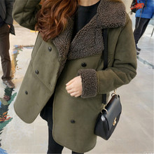 New Women's Winter Jacket Wadded Padded Cotton Outerwear Female Thick Suede Coat Loose Parkas Ladies Clothing Plus Size LQ108