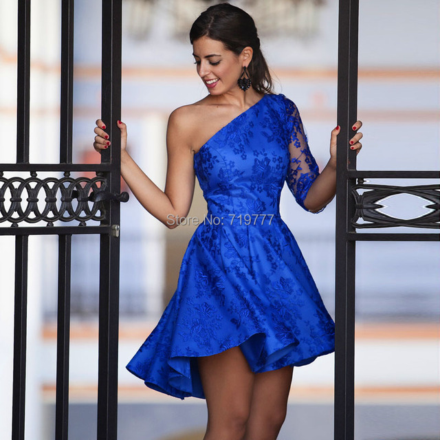 Pretty Royal Blue Lace Young Girl Short One Shoulder Prom Dresses ...