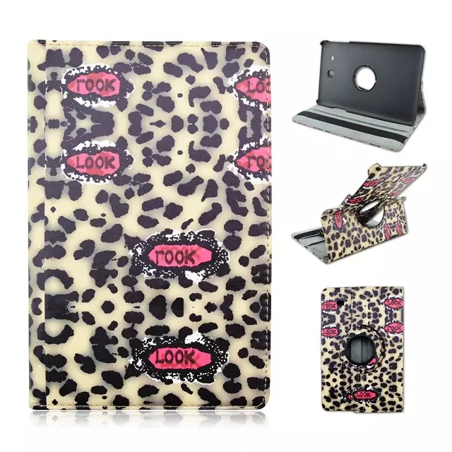 New 360 Degree Leopard Rotating Stand Leather Smart Case For Samsung Galaxy Tab E t560 9.6 t561 Free Stylus Pen + Film
