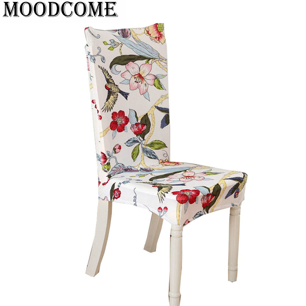 computer chair cover paddy stretch short removable dining room chair cover Spring flower bird printing chair covers