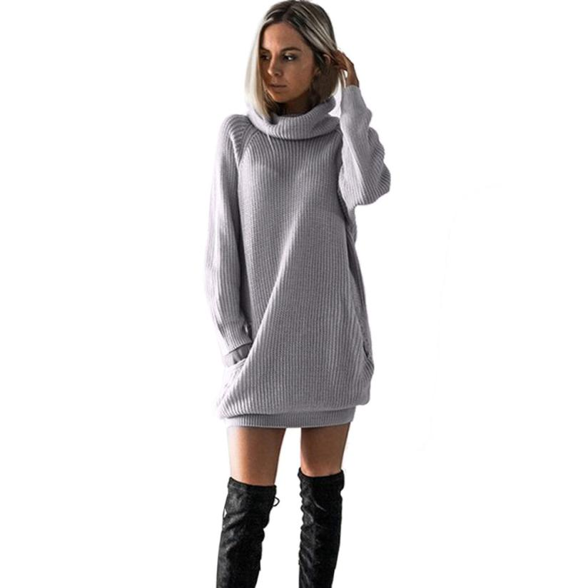 Feitong Women 2018 New Sexy Casual Knitted Dress Roll Neck Jumper Dress Ladies Mini Size Oversized Casual Straight Solid Dress 2018 ladies women casual knitted dress sexy strap slip sleeveless v neck solid home bottoming straight sweater dress