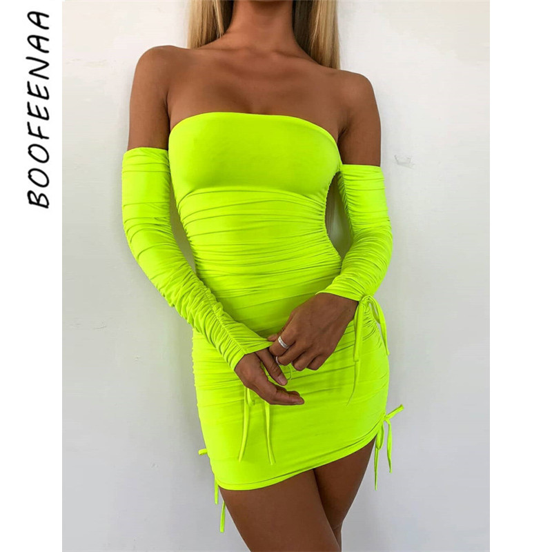 BOOFEENAA Neon Green Ruched Off Shoulder Long Sleeve Bodycon Dress Sexy Dresses Party Night Club Dresses Spring 2019 C66-AC32