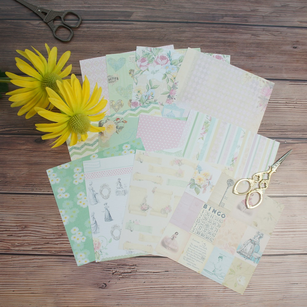 24 sheets DIY 12 style 15.2*15.2cm pink rose and daisy theme craft paper as scrapbooking creative handmade gift use