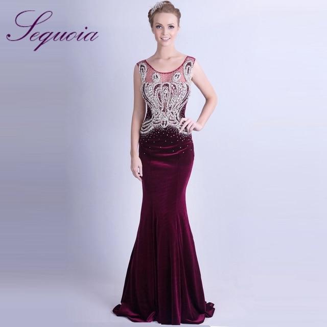 Elegant Sleeveless Women s Sparkling Crystal Beaded Long Velvet Evening  Gowns 2015 Fuchsia Dresses mo5782 848fc2c34514