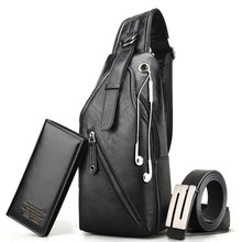 Men's chest bag casual shoulder bag Messenger bag chest small leather wallet 2019(China)