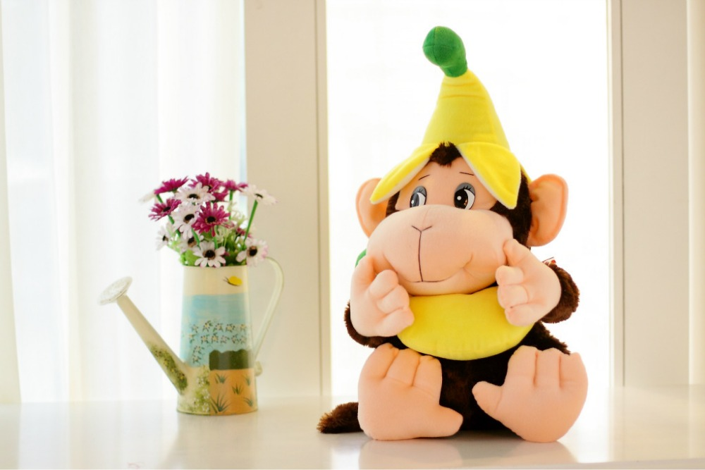lovely banana monkey plush toy soft throw pillow creative birthday gift w5190 экшн камера eken h8r ultra hd pink