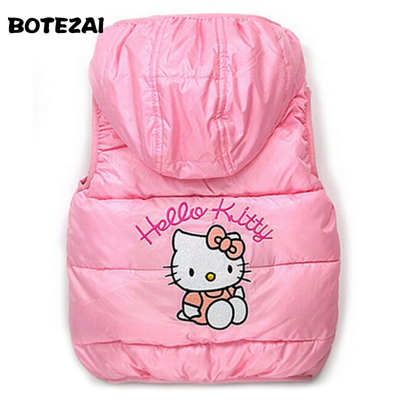 Children Outerwear Clothing Hello Kitty Baby Girl Cotton Padded Vest Warm Winter Waistcoat Autumn Kids Girls Clothes baby girls spring coat cartoon hello kitty spring and autumn clothes children outerwear girls cotton warm hoodies kids clothes