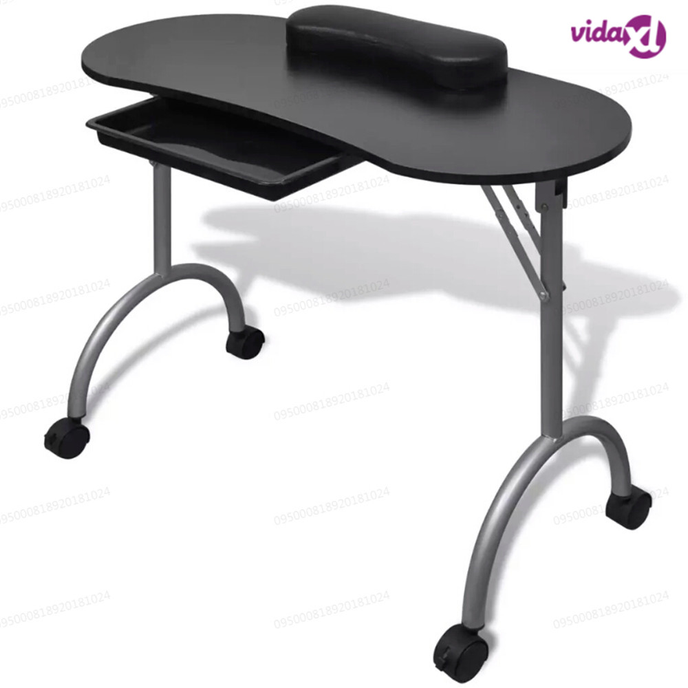 VidaXL Folding Black Manicure Table Portable Nail Table With Castors Manicure Equipment For Nail Salon With Bag Salon Furniture